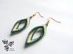 Boucle d'oreille losange torsadé vert émeraude et beige en perle miyuki - peyote -