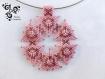 Collier rose et argenté en perles miyuki - tissage peyote triangle -