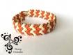 Bracelet tissé main avec des perles japonaises miyuki half tila - beige clair et terra cotta