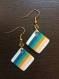 Boucle d'oreilles carrées rayées turquoise et ocre
