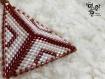 Boucle d'oreille prune et rose en perles miyuki - tissage peyote triangle -