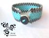 Bracelet tissé main avec des perles japonaises miyuki half tila - bleu turquoise et noir gunmetal