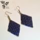 Boucle d'oreille bleu cobalt et argenté en perles miyuki - tissage bricks stitch-