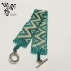 Bracelet bleu-vert caraïbe et beige clair en perles miyuki - tissage peyote -