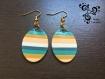 Boucle d'oreilles ovale rayées turquoise et ocre