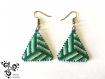 Boucle d'oreille triangle nuances de vert en perles miyuki - tissage peyote