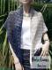 Chèche « plume de paon » tricoté main