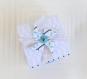 Boite à dragées originale avec moulin à vent en relief, gris, bleu et blanc, pour communion, mariage, anniversaire, personnalisables