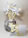 Moulin à vent jaune et gris personnalisables et son vase original en origami