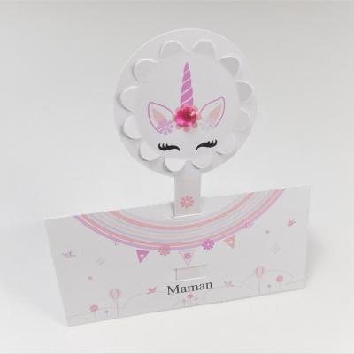 Marques place licorne dans un nuage avec relief, porte nom original sur le thème de la licorne féerique, personnalisable, blanc et rose. lot de 10