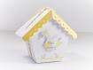 Boite à dragée nichoir, avec cygne en origami, gris blanc et jaune, boite dragée baptême, communion, mariage, personnalisable