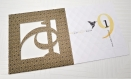 Carte de vœux 2019 dans sa pochette, avec découpes et son enveloppe - carte de vœux graphique originale, blanche, noire et or