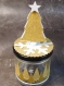 Boites à chocolats en verre pour noël et les fêtes. bonbonnière originale avec sapin en relief et flocon, blanc et or. lot de 6