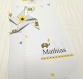 Faire-part thème éléphant, inspiration babyfan, blanc, jaune et gris avec moulin à vent. faire part personnalisable