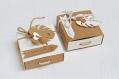 Boite dragées carrées kraft et blanche - boite dragée feuille tropicale