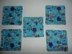 Lot de 5 lingettes lavables en coton, motif hiboux