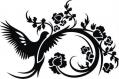 Pochoir pour peindre oiseau avec des fleurs (3037x)