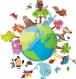 Autocollant de couleur globe avec des animaux (199f)