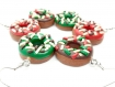 Boucles d'oreilles donuts de noël rouge