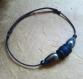 Bracelet pour homme corde coton et perles céramique, bracelet ajustable, fait main
