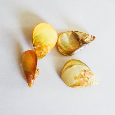 4 breloques goutte en nacre jaune 25 x 20 mm
