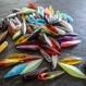 Lot de 70 perles dagues synthétiques multicolores - 20 x 5 mm