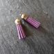 2 pompons en suédine violet et bronze - 35 mm