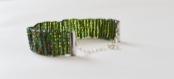 Bracelet de perles, vert reflet