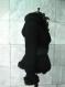 Elegant women's black coat with hood