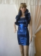 Party blue dress with pathets and baucho from taffeta