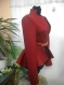 Unique and unusual female coat made of red wool textile