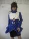 Unique ladies coat combination between blue wool textile