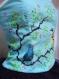 L'art à porter, bustier bleu-vert avec oiseaux peint à la main. création unique