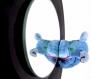 Mirroir disque vinyle, french pop art, surcyclage, original et décalé avec un hippotame bleu et son piercing