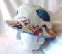 Chapeau souple réversible motif poissons colorés, fait main, unique, tour de tête 61cm