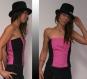Bustier top burlesque rose et noir, 100% coton, original, sexy et unique