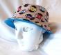 Chapeau souple réversible motif disques vinyles, fait main, unique, chapeau dj, chapeau scène, tour de tête 61cm