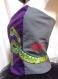 Bustier gris et violet avec serpents peints à la main, l'art à porter,unique et original, taille 38
