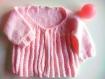 Tricot gilet rose bébé fille 6-9 mois