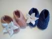 Tricot chaussons ballerines fantaisies bleu rose fleur bébé fille 6 mois cadeau naissance baby shower coton bio hiver chaud