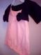 Tricot ensemble robe chaussons ballerines boléro orange noir fleur bébé fille 3 mois hiver cadeau naissance point jersey ajouré