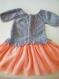 Tricot robe grise manches 3/4 automne hiver tutu tulle orange bébé fille 6 mois
