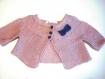 Tricot ensemble robe gilet bleu rose poudré bébé fille 6 mois coton bio cadeau naissance