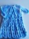 Tricot ensemble bleu ciel dégradé robe boléro bandeau chapeau fille sur commande