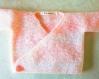 Tricot gilet cache-coeur rose bébé fille taille naissance