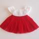 Robe bébé noël robe crochet tulle rouge et blanche