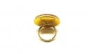 Bague cabochon tissus fleuri perles de verre dorées