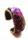 Bracelet manchette soie noire, velours et perles de verre dorées