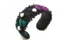 Bracelet manchette soie noire, velours et perles de verre noires