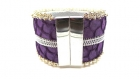Bracelet manchette cuir de tilapia mauve ,biais à glissière et broderie de perles
